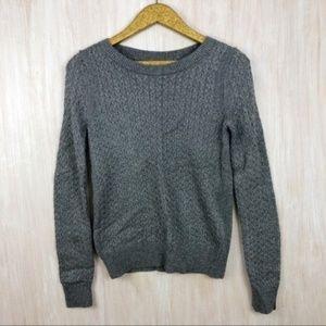 LOFT Gray Metallic Sparkle Cable Knit Sweater